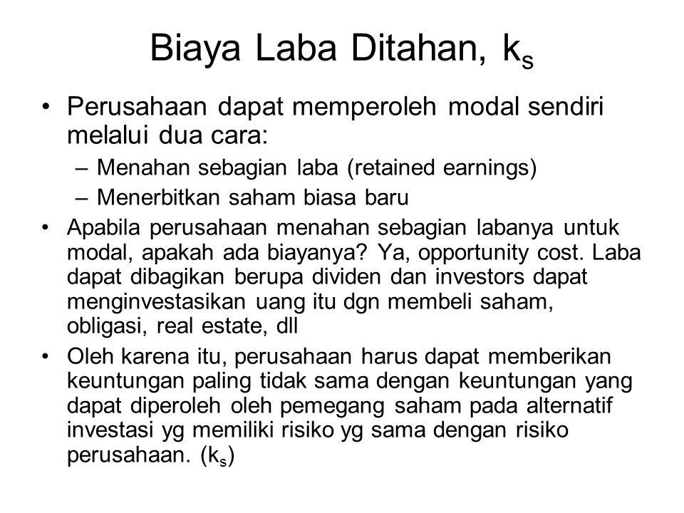Biaya Laba Ditahan, ks Perusahaan dapat memperoleh modal sendiri melalui dua cara: Menahan sebagian laba (retained earnings)