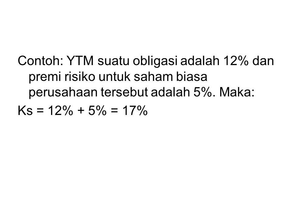 Contoh: YTM suatu obligasi adalah 12% dan premi risiko untuk saham biasa perusahaan tersebut adalah 5%. Maka: