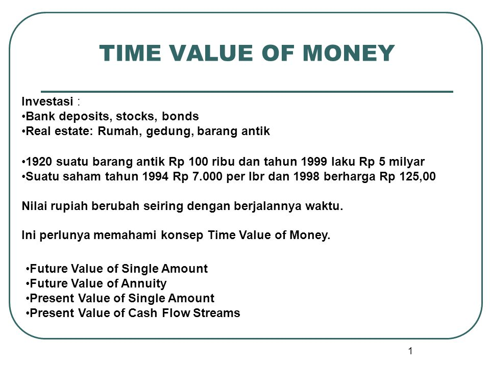 TIME VALUE OF MONEY Investasi : Bank deposits, stocks, bonds