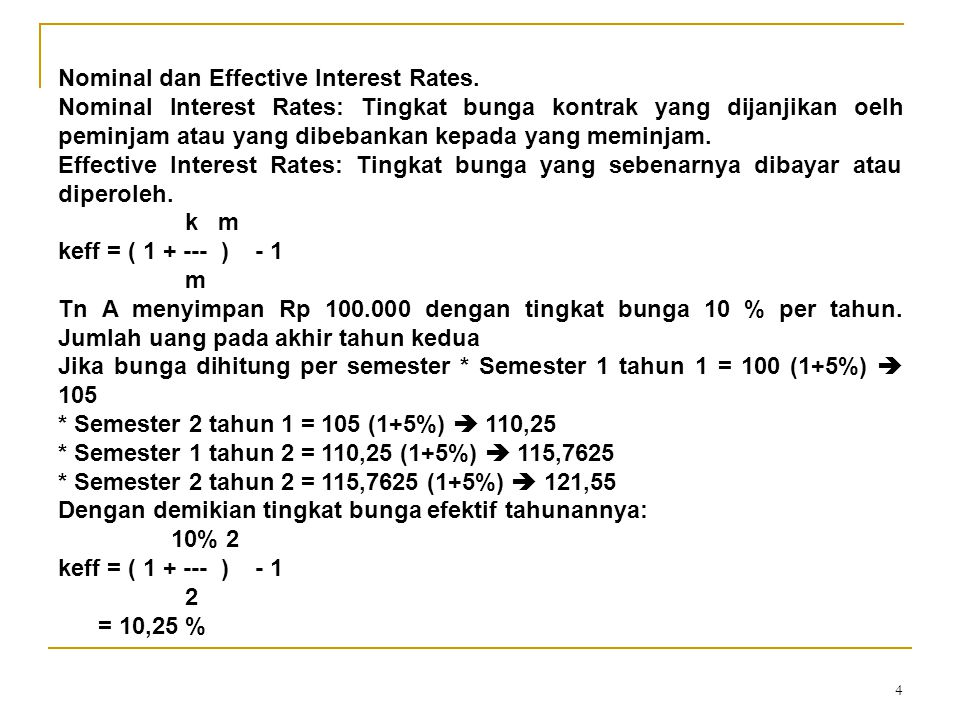 Nominal dan Effective Interest Rates.