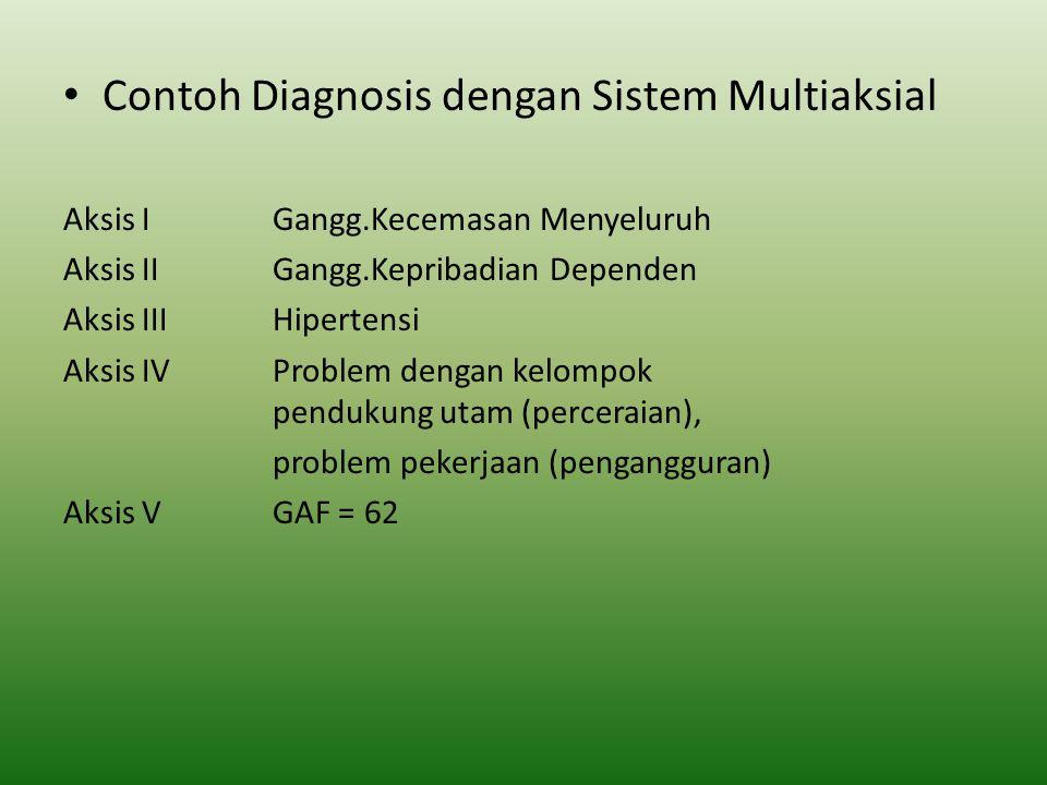 Contoh Diagnosis dengan Sistem Multiaksial