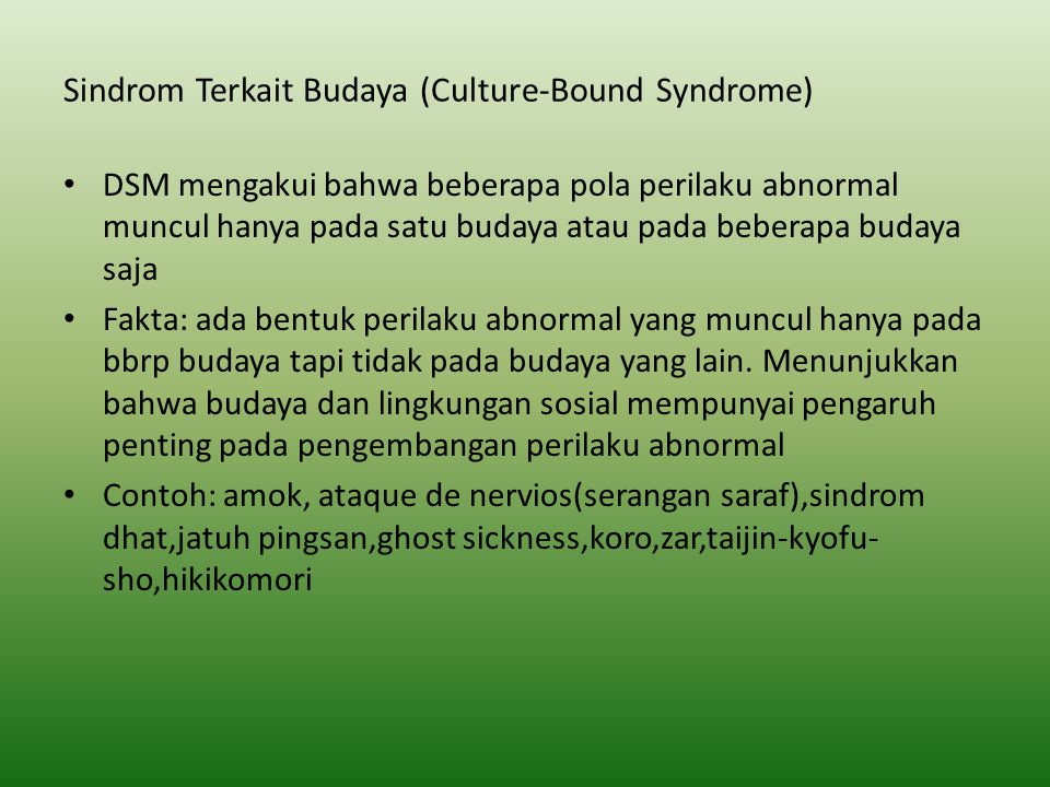 Sindrom Terkait Budaya (Culture-Bound Syndrome)