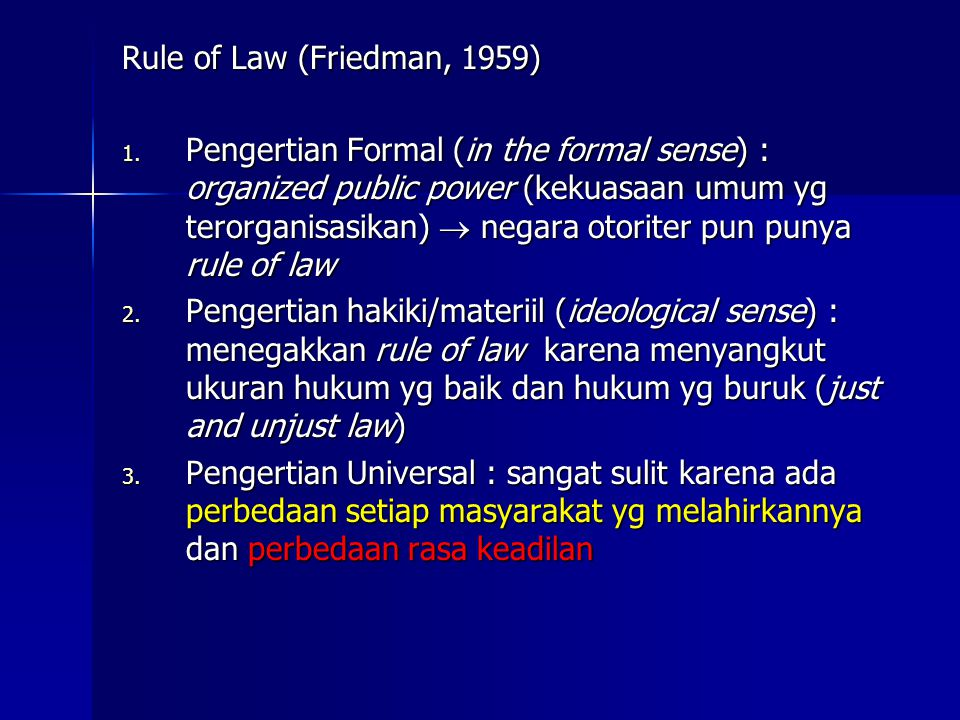 Rule of Law (Friedman, 1959)