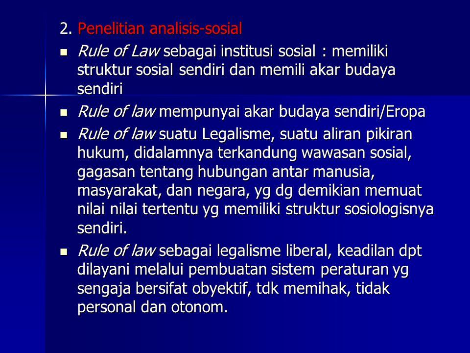 2. Penelitian analisis-sosial