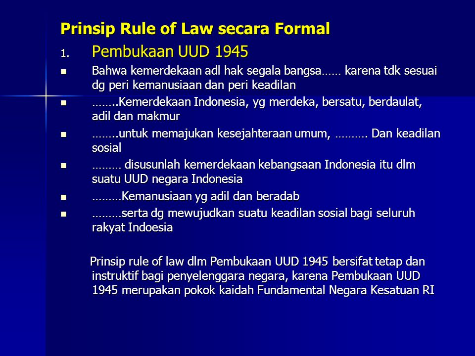 Prinsip Rule of Law secara Formal Pembukaan UUD 1945