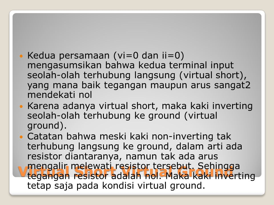 Virtual Short Virtual Ground