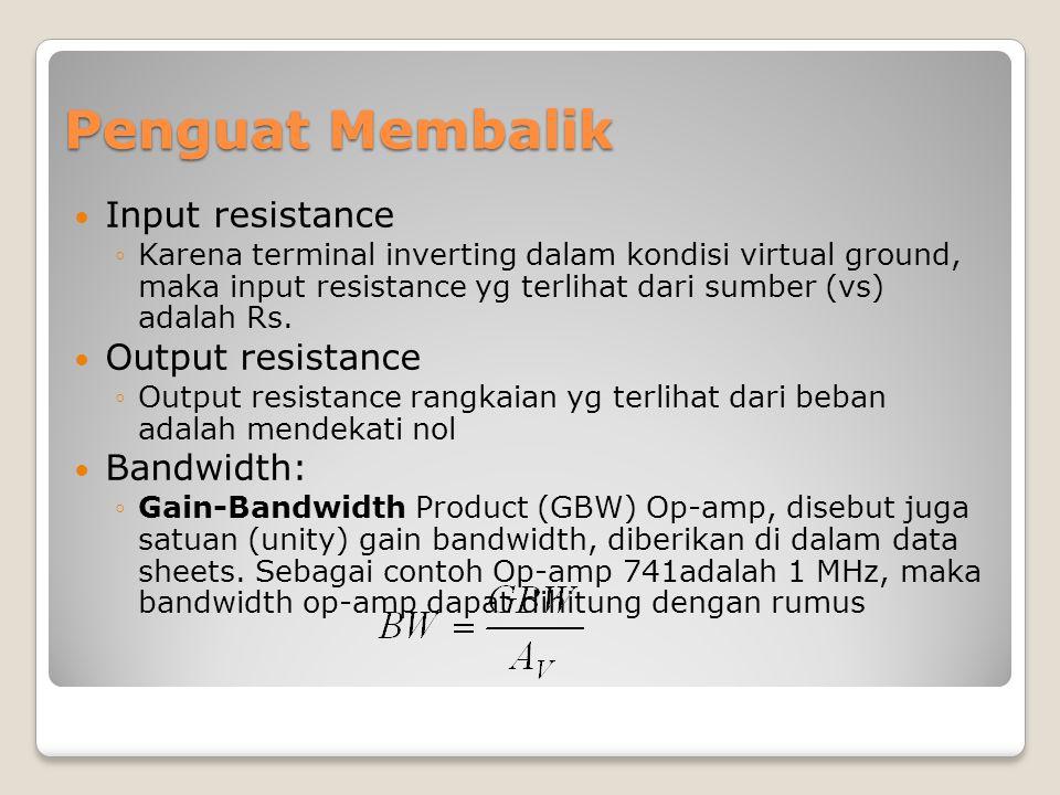Penguat Membalik Input resistance Output resistance Bandwidth: