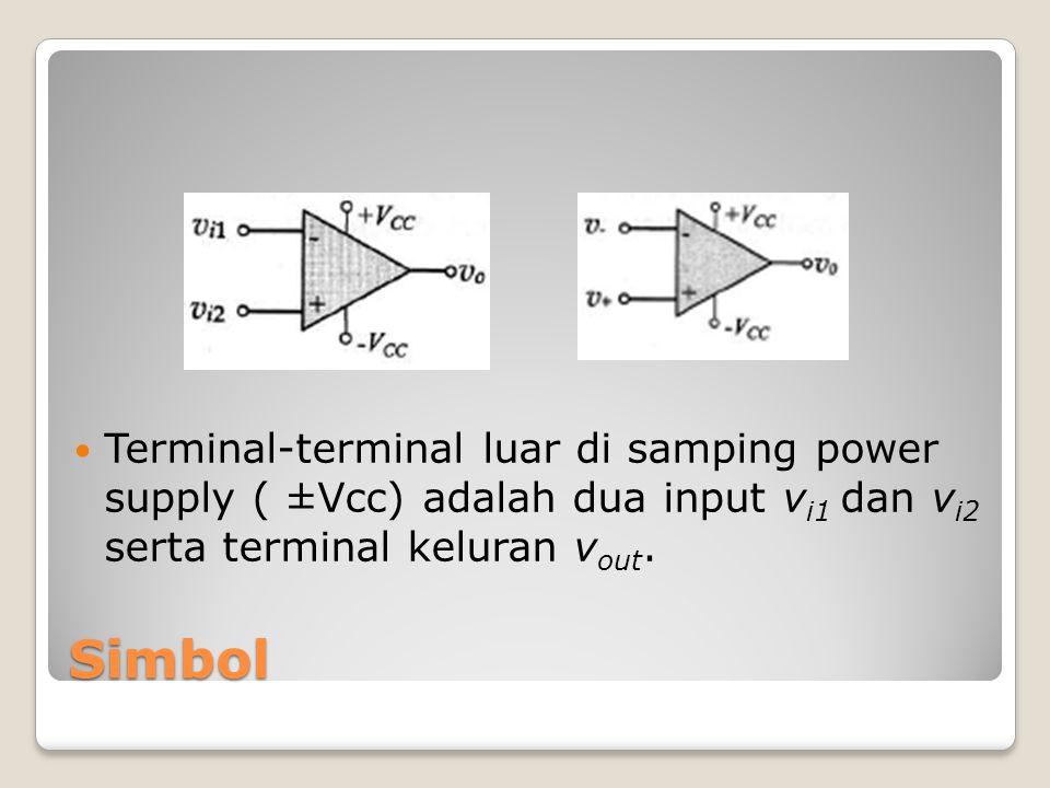 Terminal-terminal luar di samping power supply ( ±Vcc) adalah dua input vi1 dan vi2 serta terminal keluran vout.