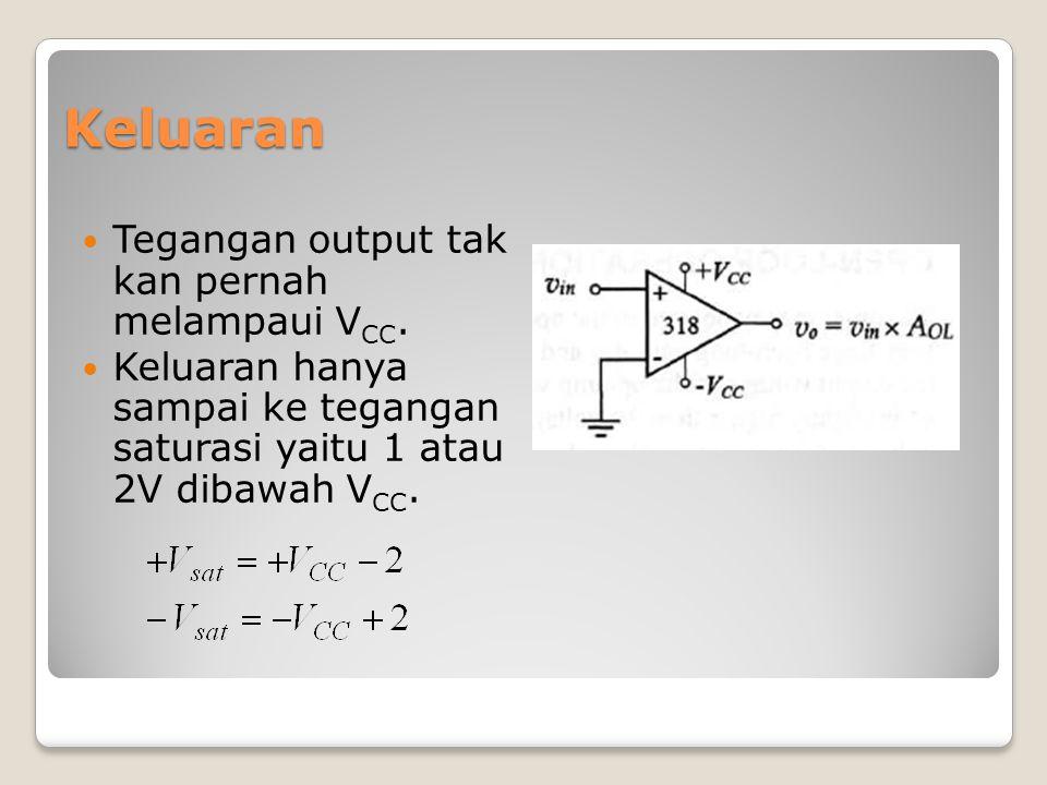 Keluaran Tegangan output tak kan pernah melampaui VCC.