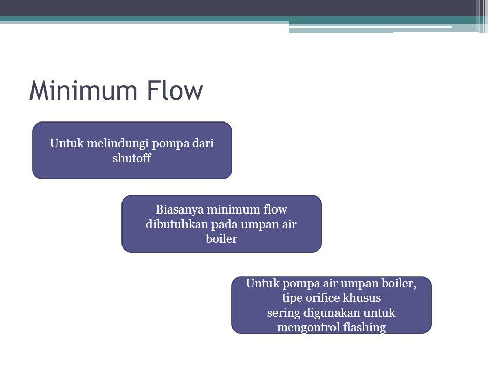 Minimum Flow Untuk melindungi pompa dari shutoff