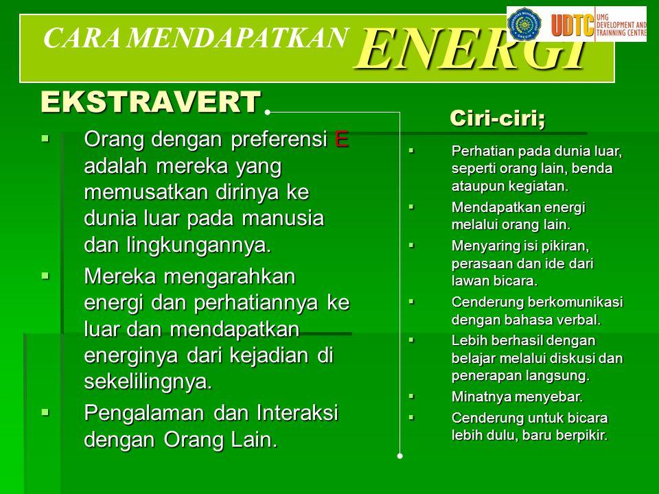 ENERGI CARA MENDAPATKAN EKSTRAVERT Ciri-ciri;
