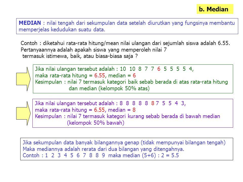 b. Median MEDIAN : nilai tengah dari sekumpulan data setelah diurutkan yang fungsinya membantu. memperjelas kedudukan suatu data.
