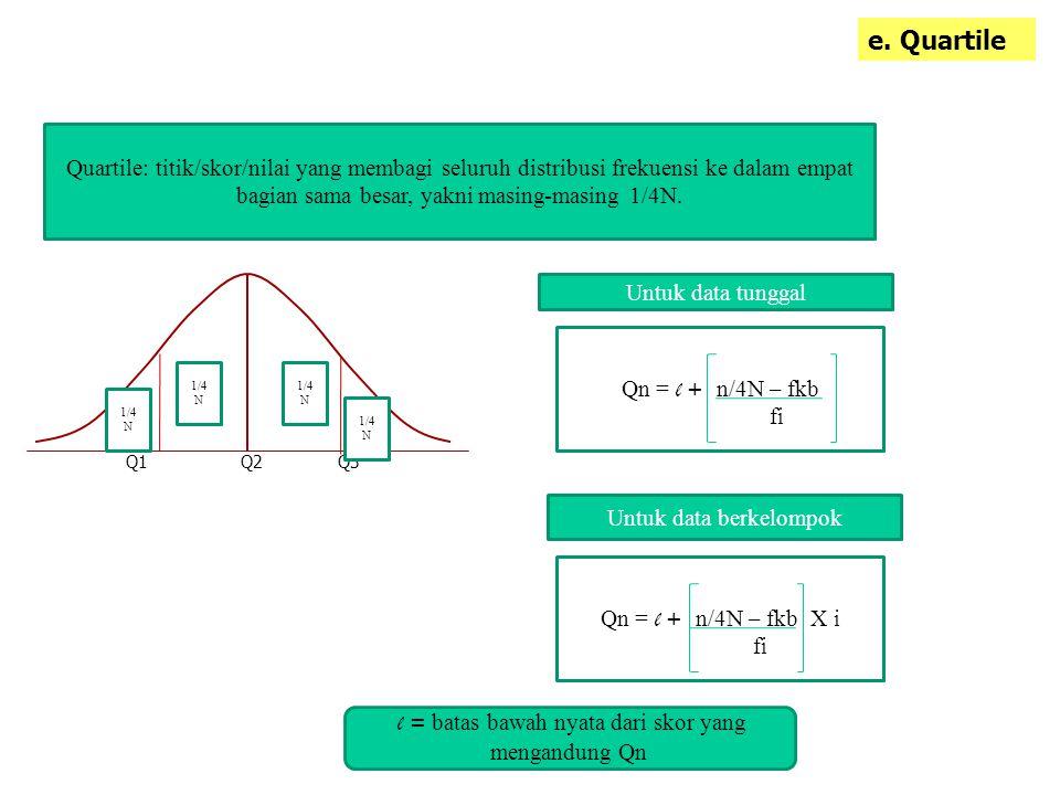 e. Quartile Quartile: titik/skor/nilai yang membagi seluruh distribusi frekuensi ke dalam empat bagian sama besar, yakni masing-masing 1/4N.