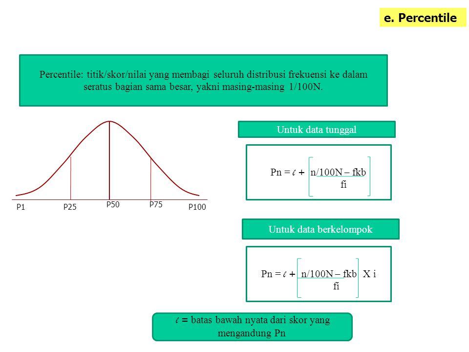 e. Percentile Percentile: titik/skor/nilai yang membagi seluruh distribusi frekuensi ke dalam seratus bagian sama besar, yakni masing-masing 1/100N.