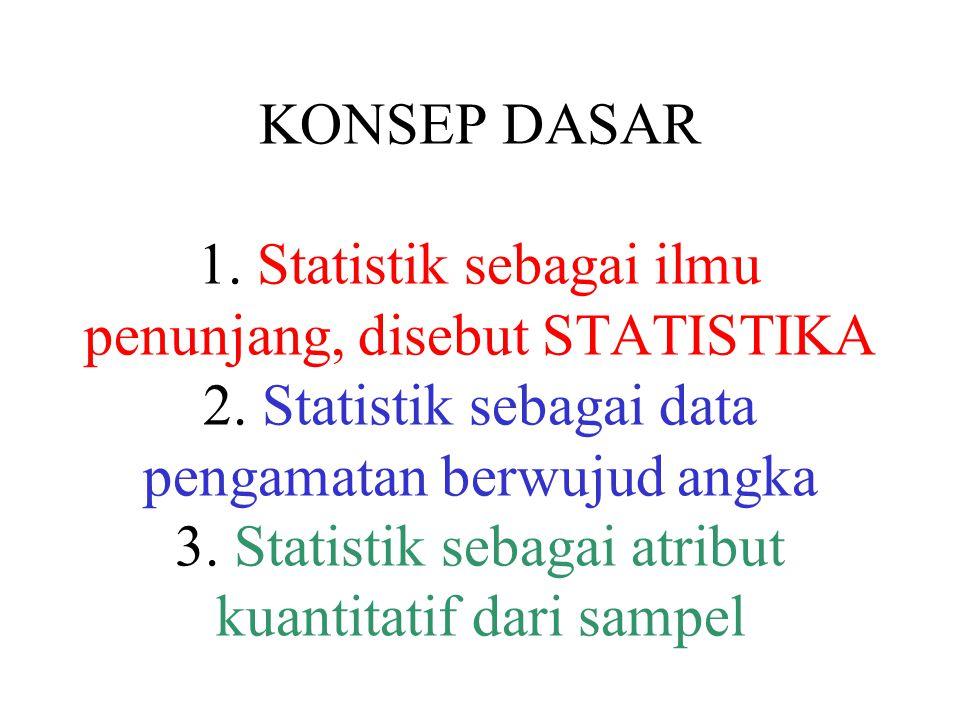 KONSEP DASAR 1. Statistik sebagai ilmu penunjang, disebut STATISTIKA 2