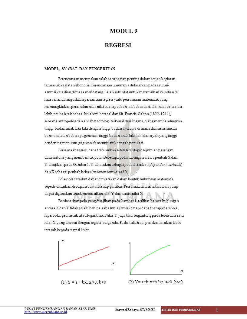 MODUL 9 Y REGRESI (1) Y = a + bx, a >0, b>0