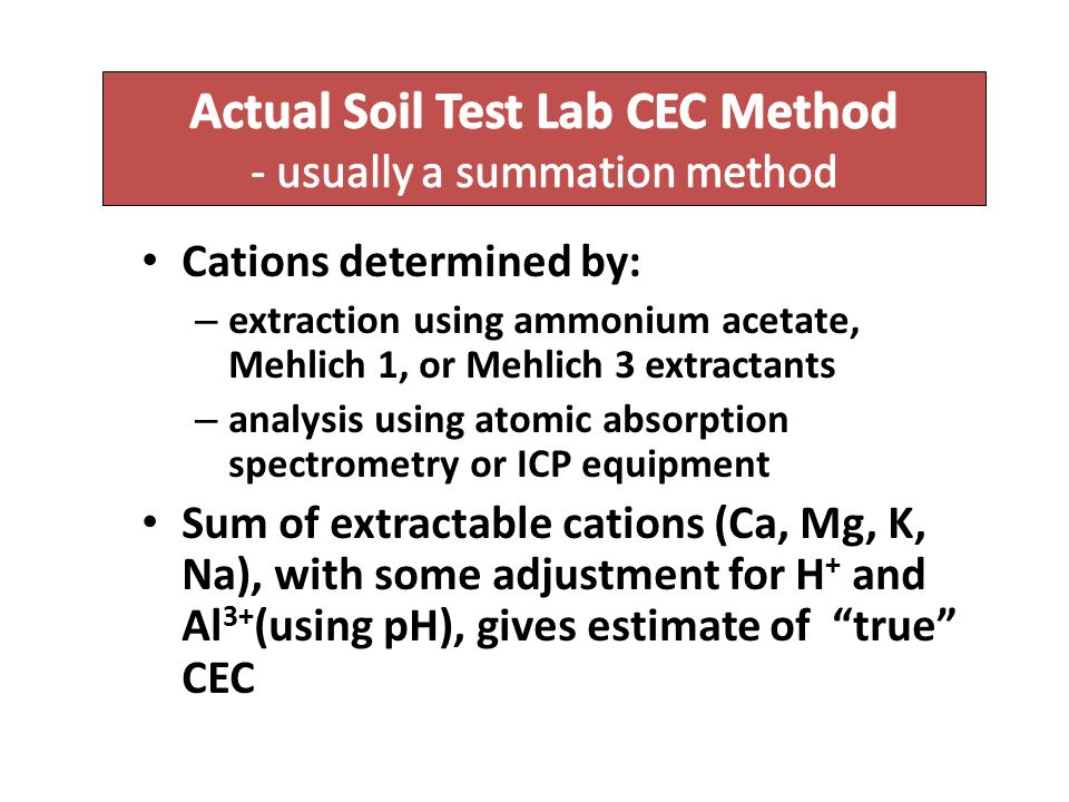 Actual Soil Test Lab CEC Method - usually a summation method