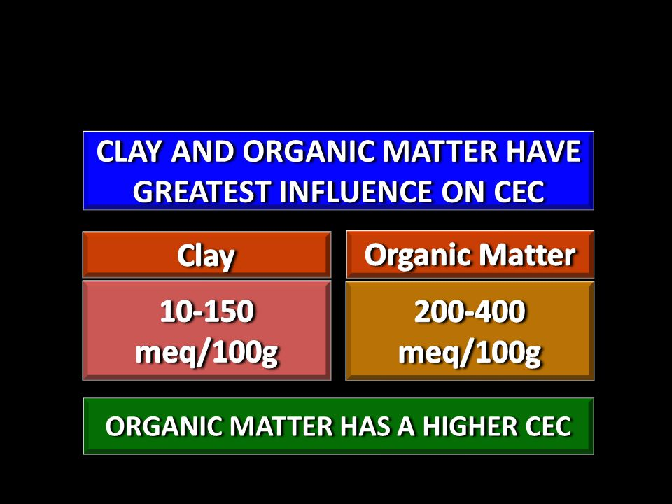 CLAY AND ORGANIC MATTER HAVE GREATEST INFLUENCE ON CEC