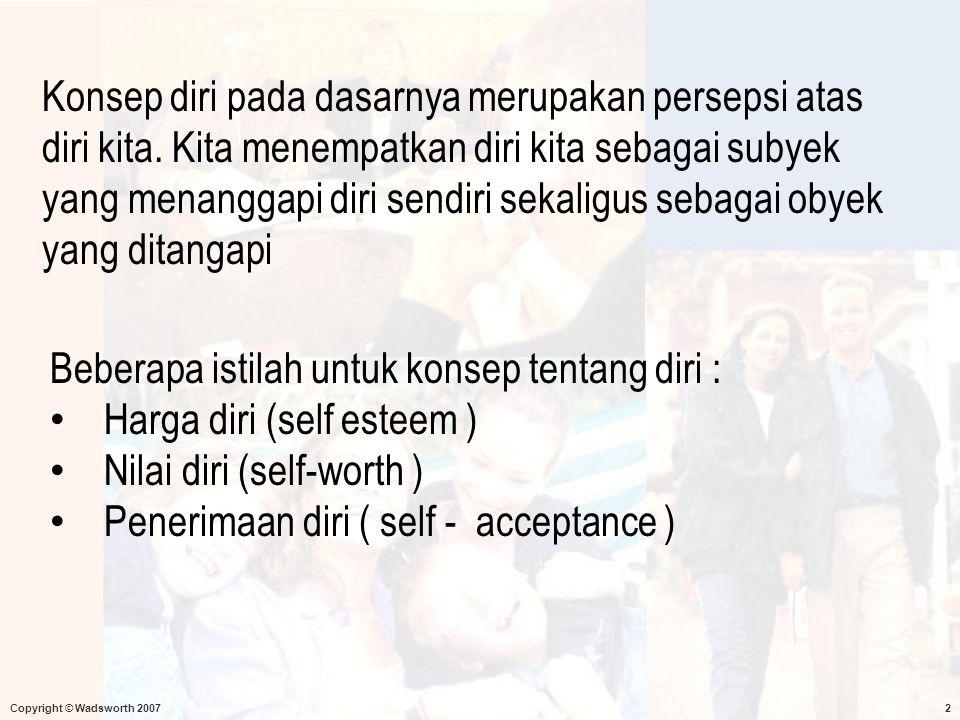 Beberapa istilah untuk konsep tentang diri : Harga diri (self esteem )