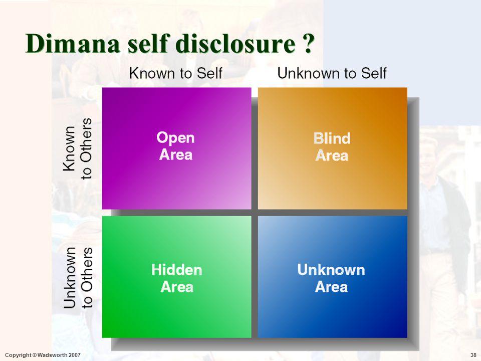 Dimana self disclosure