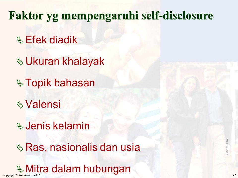 Faktor yg mempengaruhi self-disclosure