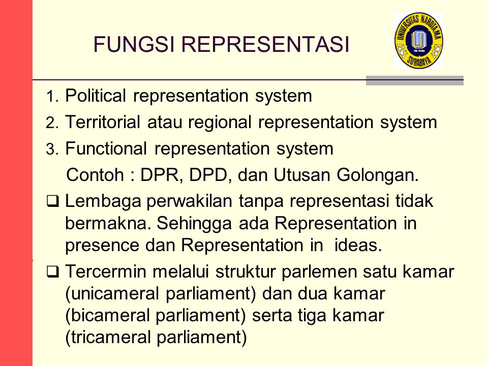 FUNGSI REPRESENTASI Political representation system