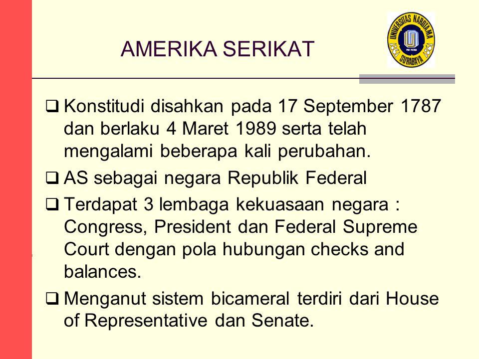 AMERIKA SERIKAT Konstitudi disahkan pada 17 September 1787 dan berlaku 4 Maret 1989 serta telah mengalami beberapa kali perubahan.