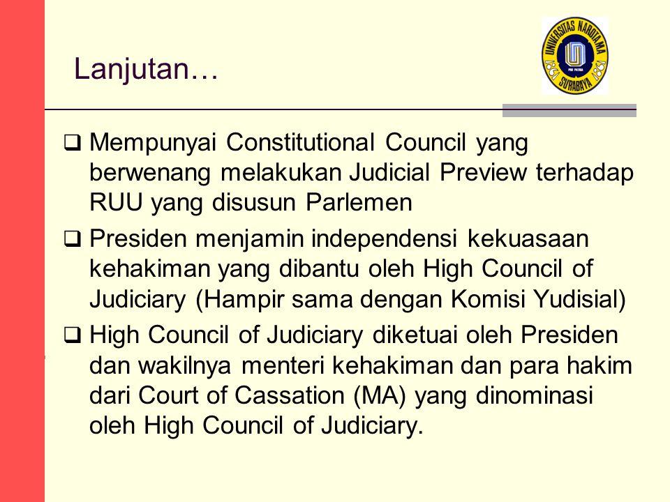 Lanjutan… Mempunyai Constitutional Council yang berwenang melakukan Judicial Preview terhadap RUU yang disusun Parlemen.