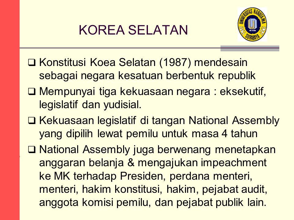 KOREA SELATAN Konstitusi Koea Selatan (1987) mendesain sebagai negara kesatuan berbentuk republik.