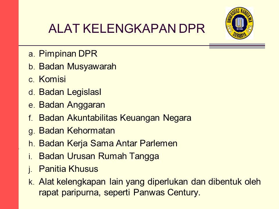ALAT KELENGKAPAN DPR Pimpinan DPR Badan Musyawarah Komisi