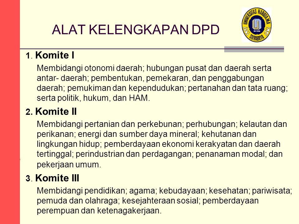 ALAT KELENGKAPAN DPD 1. Komite I 2. Komite II 3. Komite III