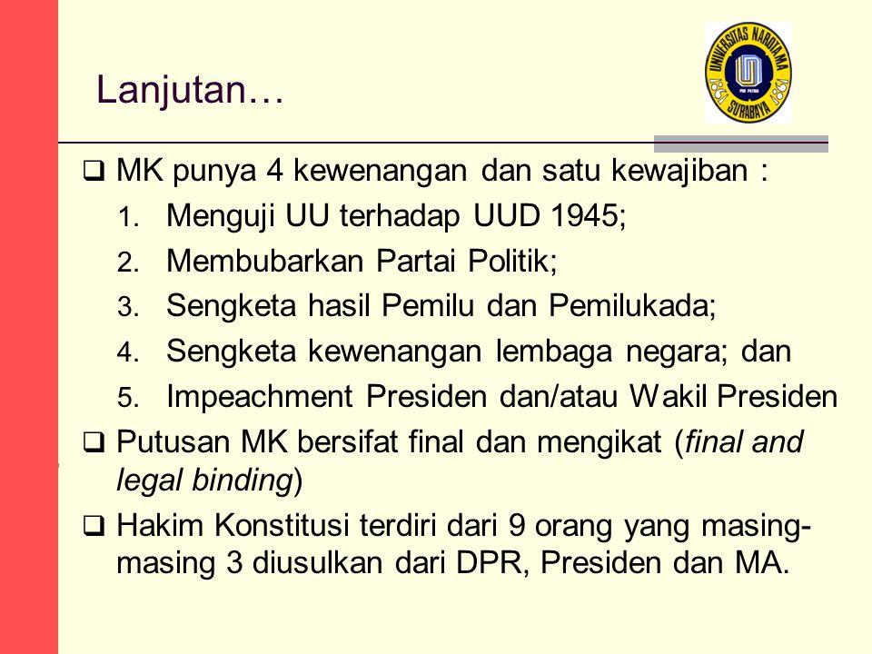 Lanjutan… MK punya 4 kewenangan dan satu kewajiban :