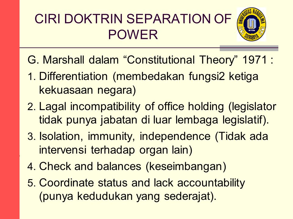 CIRI DOKTRIN SEPARATION OF POWER