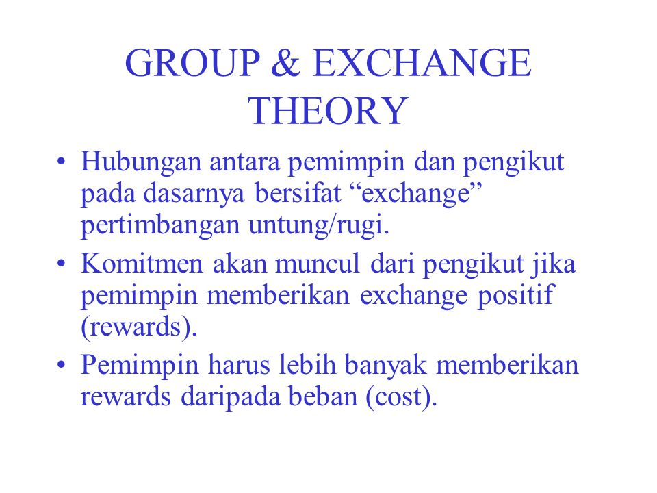 GROUP & EXCHANGE THEORY