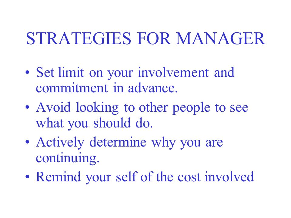 STRATEGIES FOR MANAGER