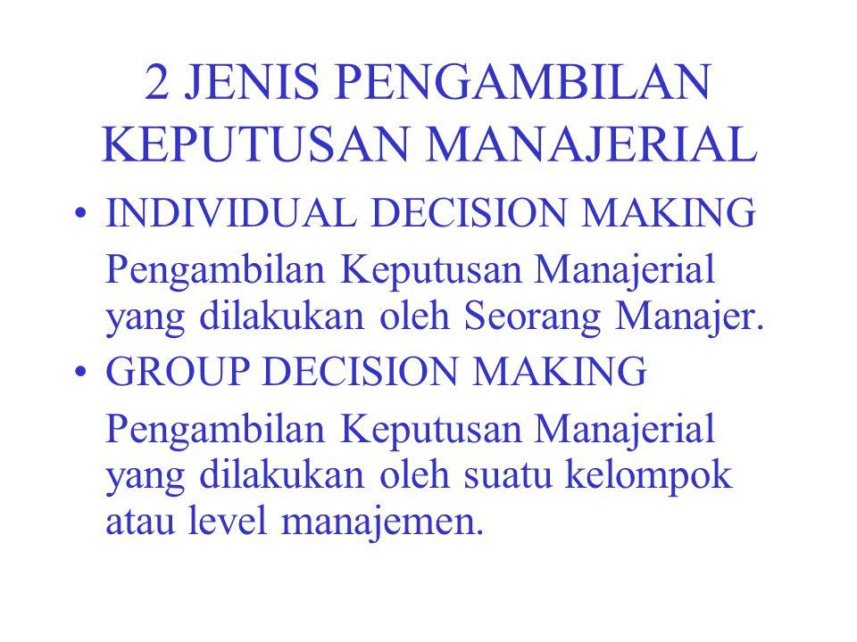 2 JENIS PENGAMBILAN KEPUTUSAN MANAJERIAL