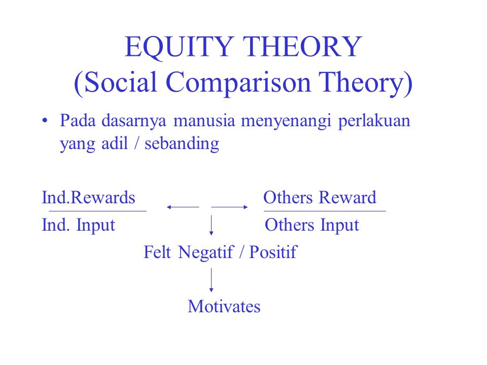 EQUITY THEORY (Social Comparison Theory)
