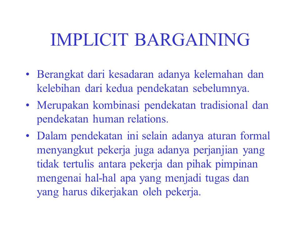 IMPLICIT BARGAINING Berangkat dari kesadaran adanya kelemahan dan kelebihan dari kedua pendekatan sebelumnya.