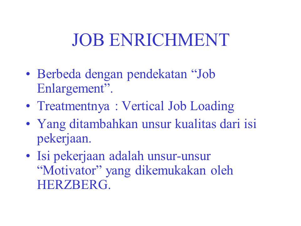 JOB ENRICHMENT Berbeda dengan pendekatan Job Enlargement .