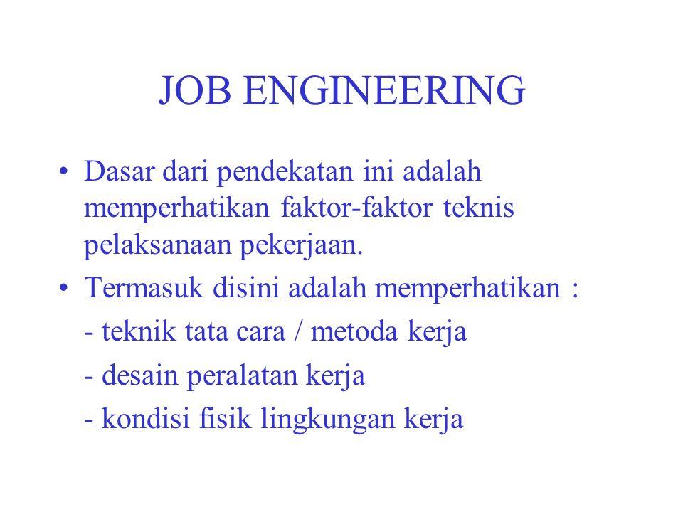 JOB ENGINEERING Dasar dari pendekatan ini adalah memperhatikan faktor-faktor teknis pelaksanaan pekerjaan.