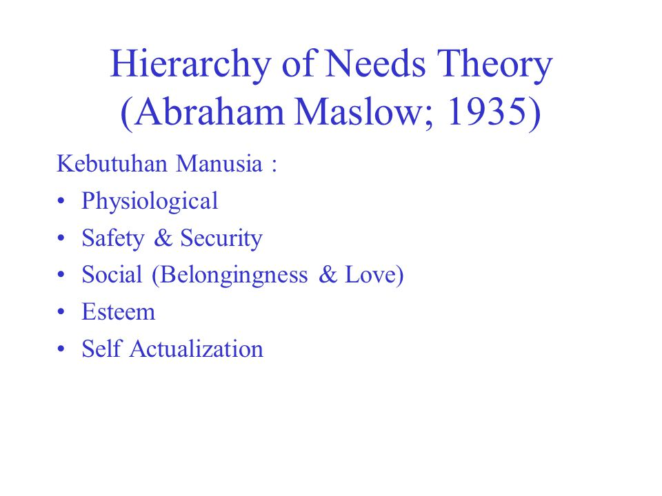 Hierarchy of Needs Theory (Abraham Maslow; 1935)