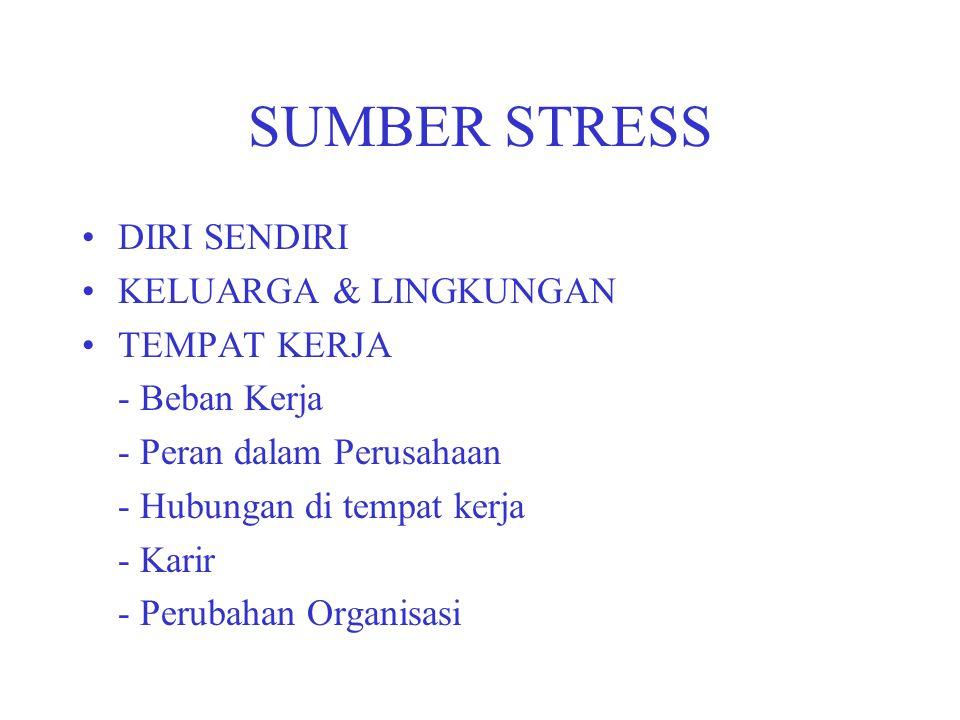 SUMBER STRESS DIRI SENDIRI KELUARGA & LINGKUNGAN TEMPAT KERJA