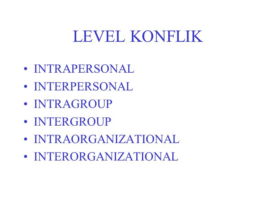 LEVEL KONFLIK INTRAPERSONAL INTERPERSONAL INTRAGROUP INTERGROUP