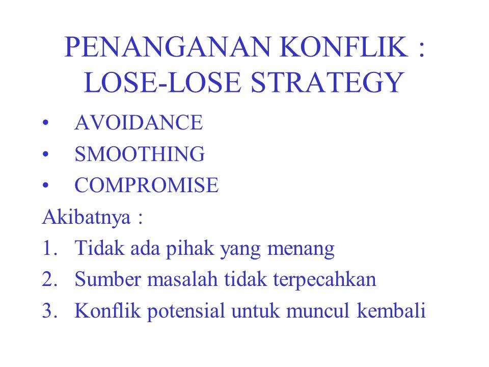 PENANGANAN KONFLIK : LOSE-LOSE STRATEGY