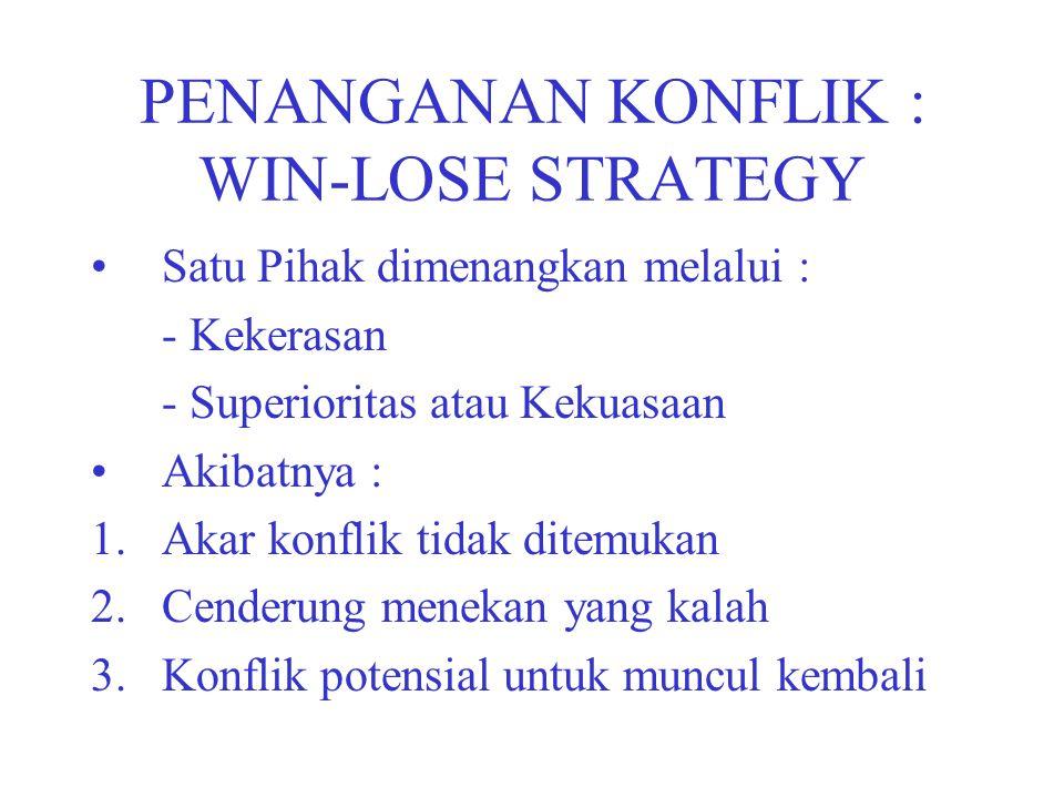 PENANGANAN KONFLIK : WIN-LOSE STRATEGY