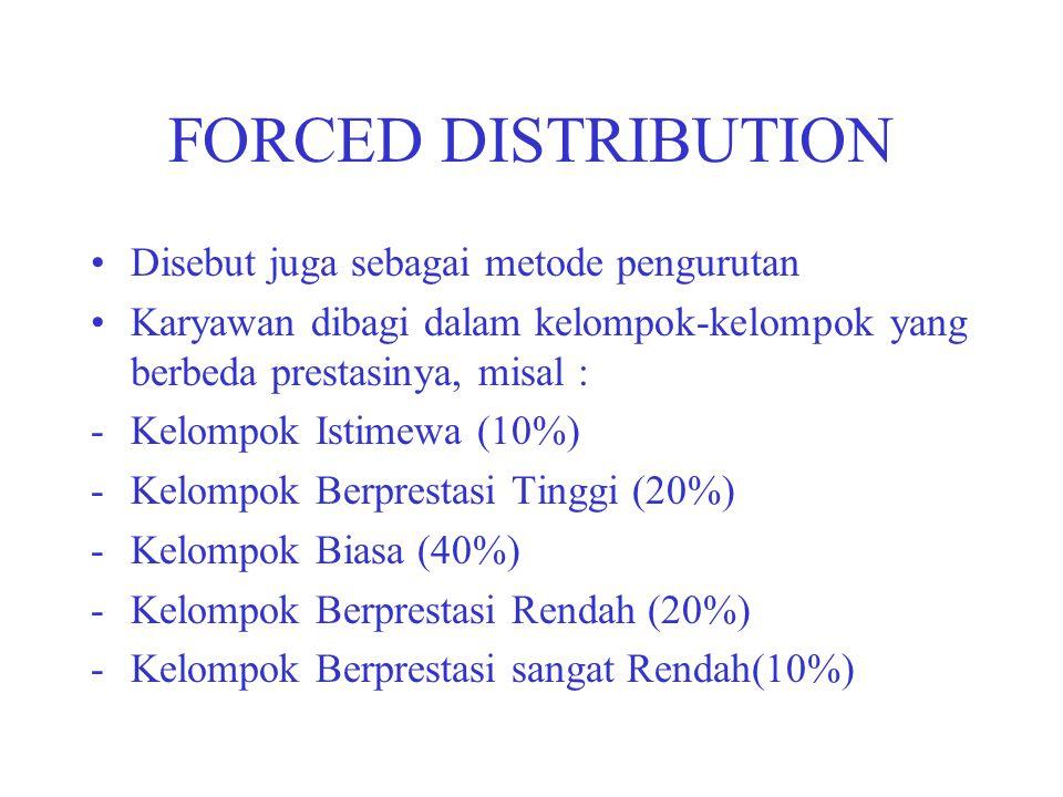 FORCED DISTRIBUTION Disebut juga sebagai metode pengurutan