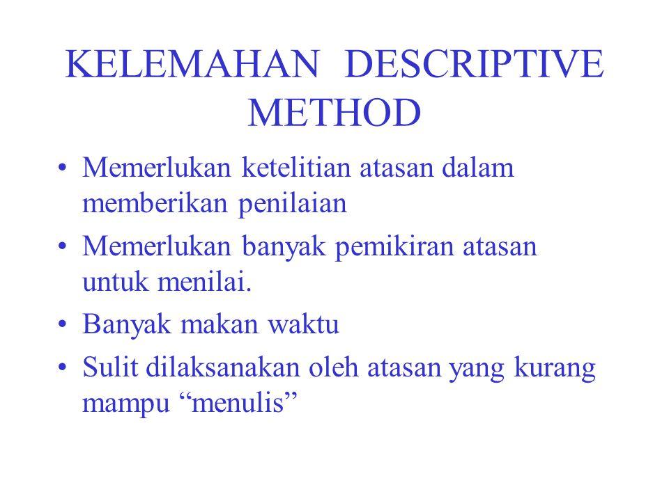 KELEMAHAN DESCRIPTIVE METHOD