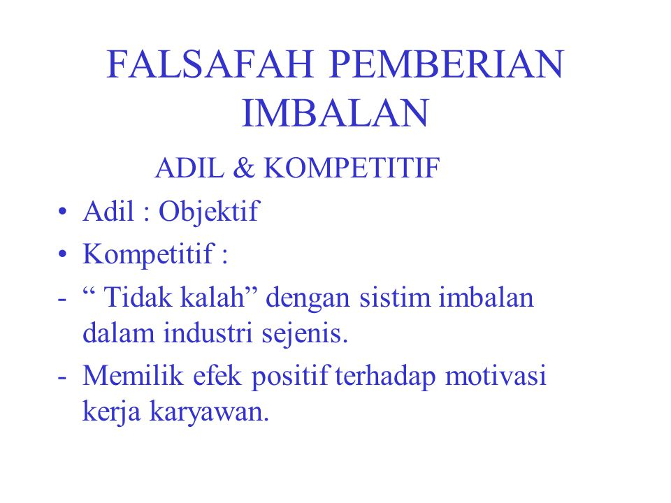 FALSAFAH PEMBERIAN IMBALAN