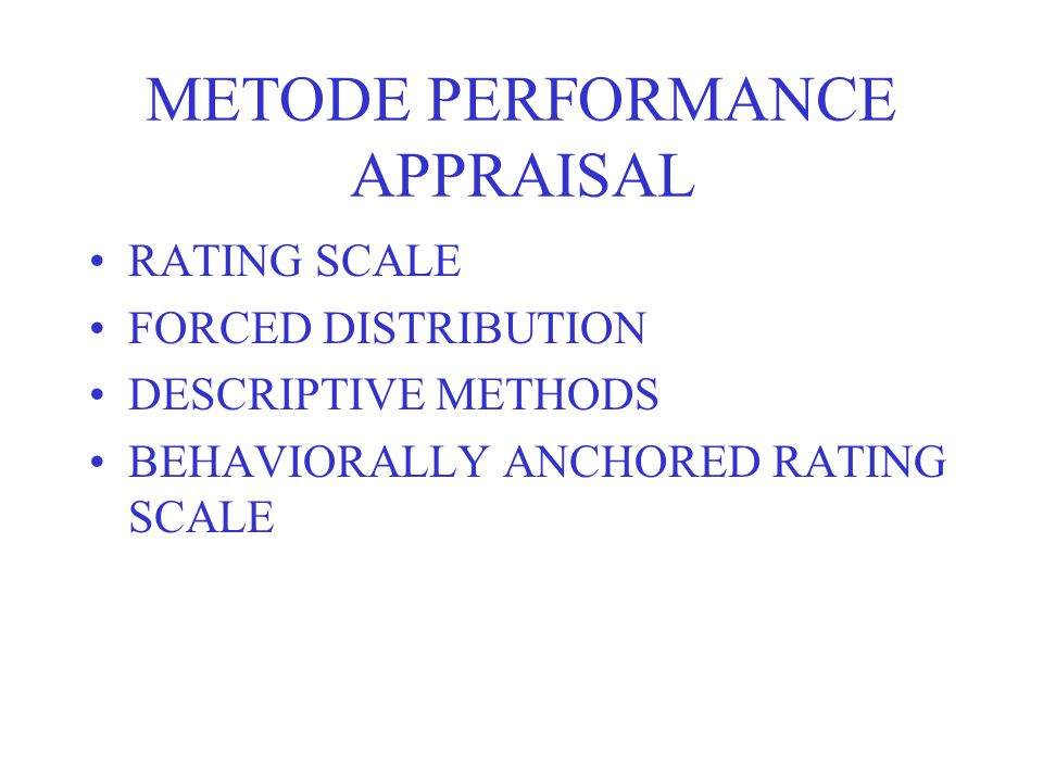 METODE PERFORMANCE APPRAISAL