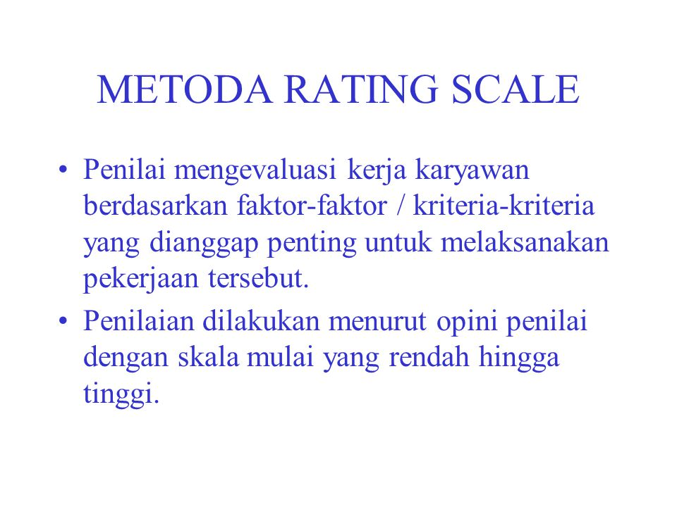 METODA RATING SCALE